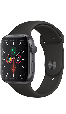 שעון חכם Apple Watch 5 GPS 44mm Space Grey ,Black Band