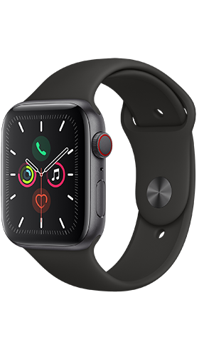 שעון חכם Apple Watch 4 GPS 44mm Space Grey ,Black Band