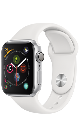 Apple Watch 4 GPS 44m Silver ,White Band